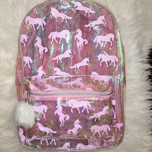 NWT Clear Iridescent Unicorn Backpack